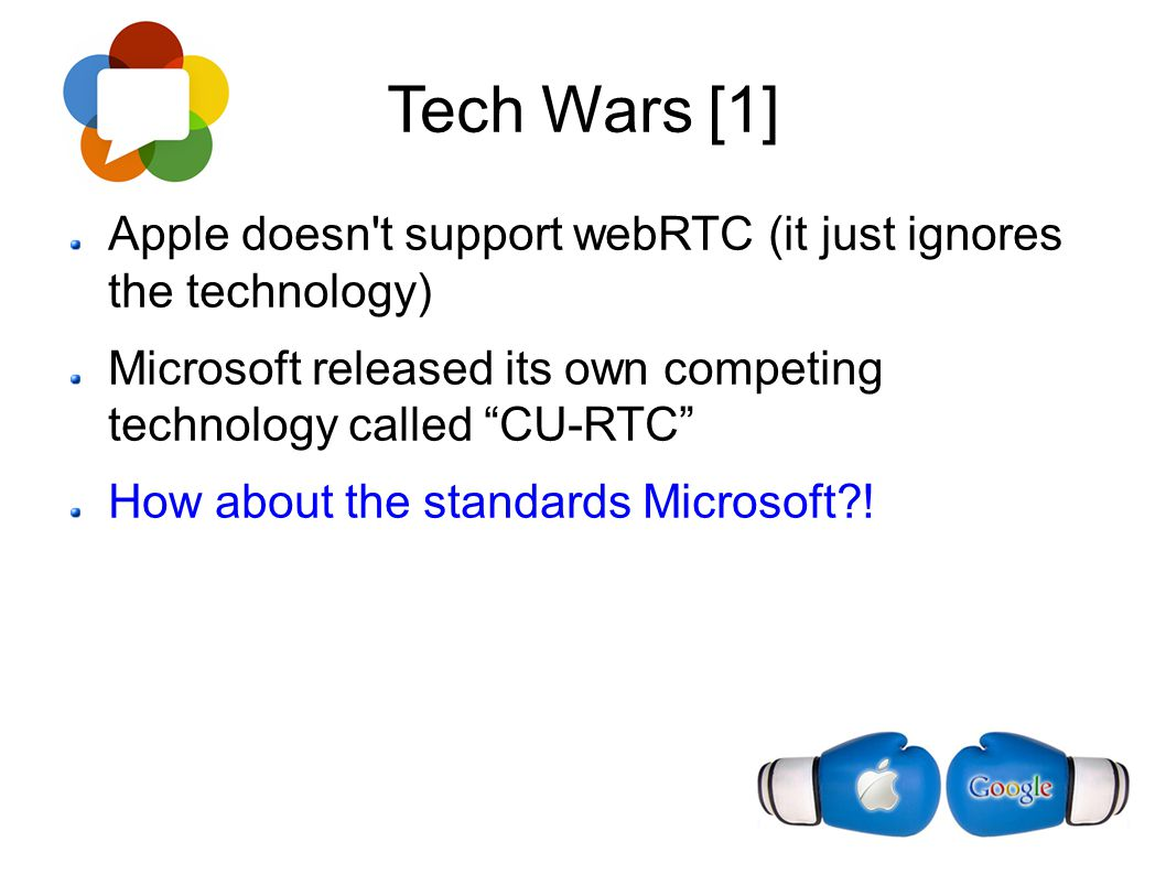 Tech Wars [1] Apple doesn t support webRTC (it just ignores the technology) Microsoft released its own competing technology called CU-RTC